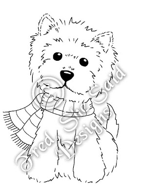 Fred she said designs the store winter westie for Westie coloring pages