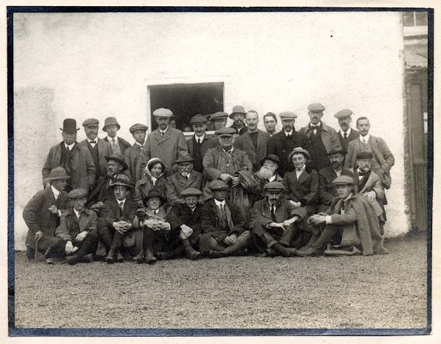 Photograph of the entire party of the Assynt Excursion led by B.N. Peach and J. Horne, taken outside the Inchnadamph Hotel during September 1912. Excursion of the British Association for the Advancement of Science Meeting held in Dundee.