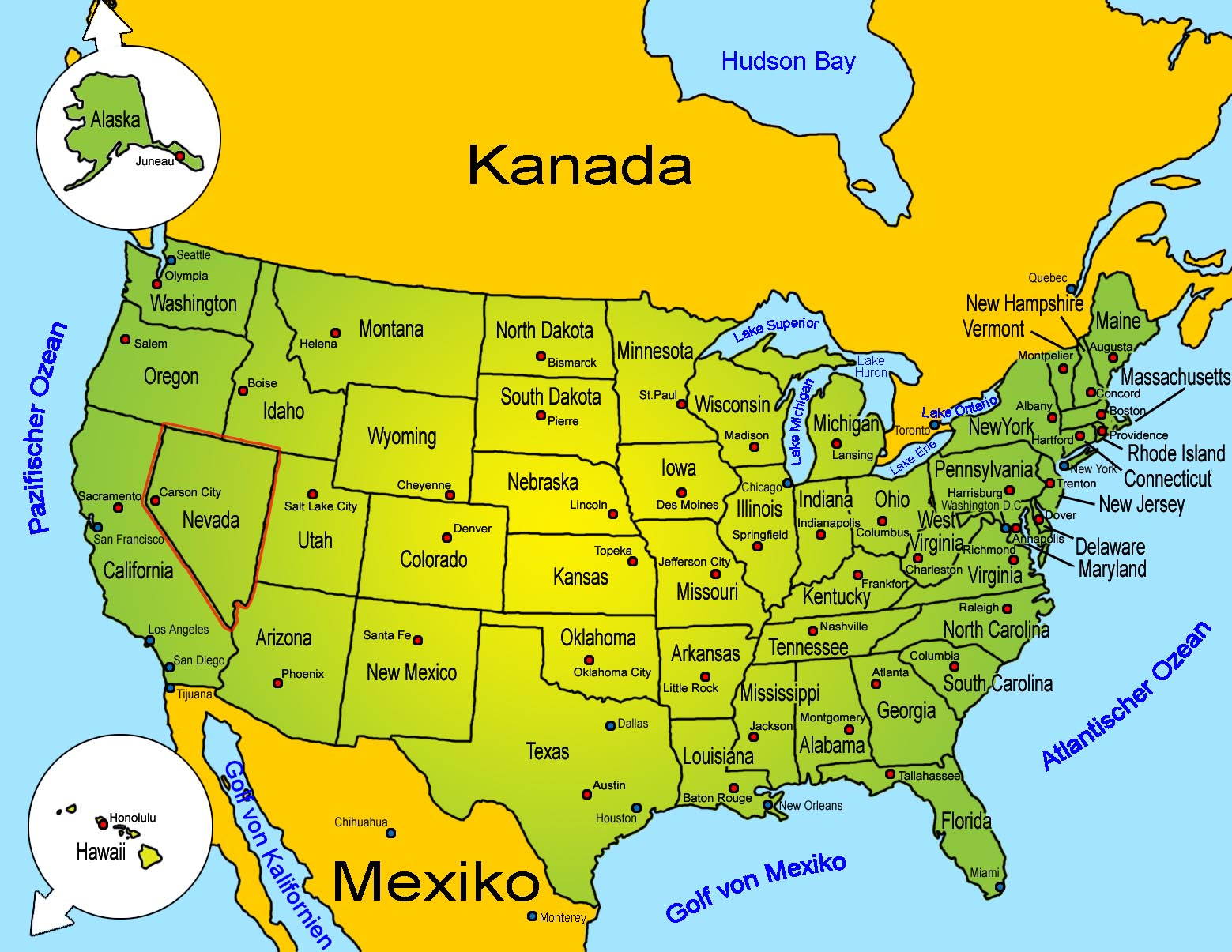 Location Map Of Nevada In USA Detailed Map Of Nevada State - Detailed map of us