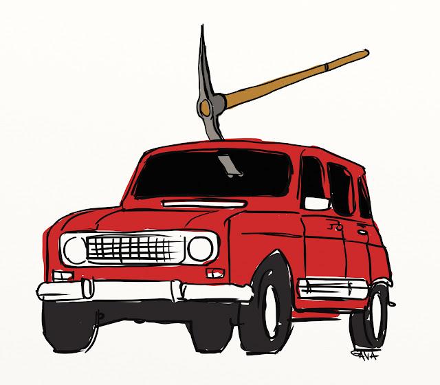 Gava gavavenezia satira vignette illustrazioni caricatura caricature ridere pensare piangere moro renault 4 dc cossiga piccone rosso ruote macchina