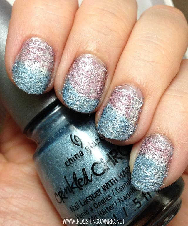 China Glaze Crinkled Chrome nail art gradient