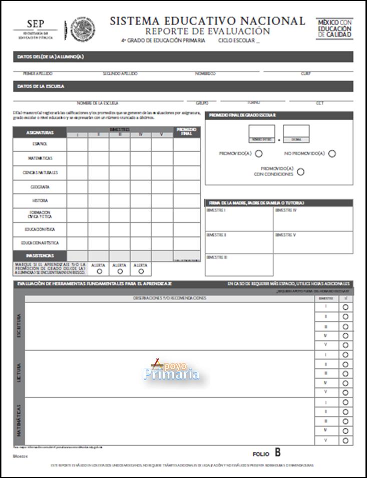 Reporte de Evaluación para Cuarto Grado 2014 - 2015
