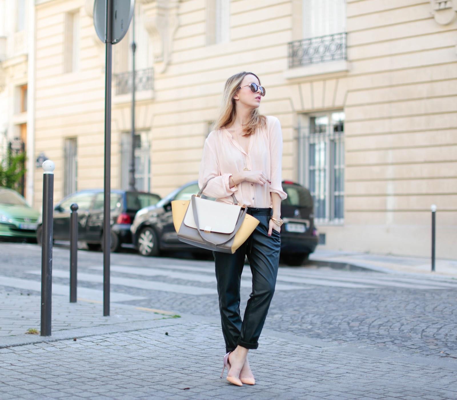 pardonmyobsession, streetstyle, leather, fashion blogger, paris, céline