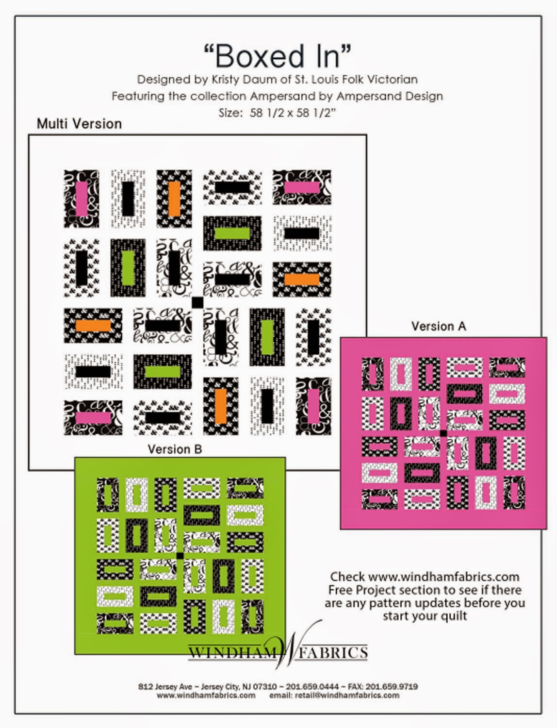 Quilt Pattern BOXED IN Windham Fabrics