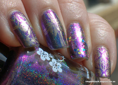 KBShimmer Rolling with the Chromies with China Glaze Passion stamping