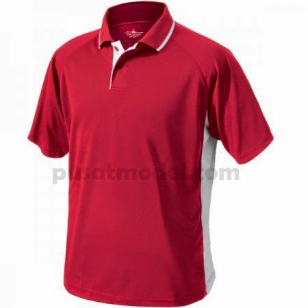 Kaos Olahraga Berkerah 10 Merah Desain Polos