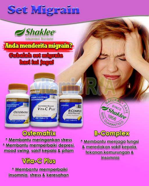 ianya bukan sahaja membantu melegakan sakit kepala malah tiada kesan sampingan lain berbanding ubatan Migrain yang lain ianya di jamin selamat