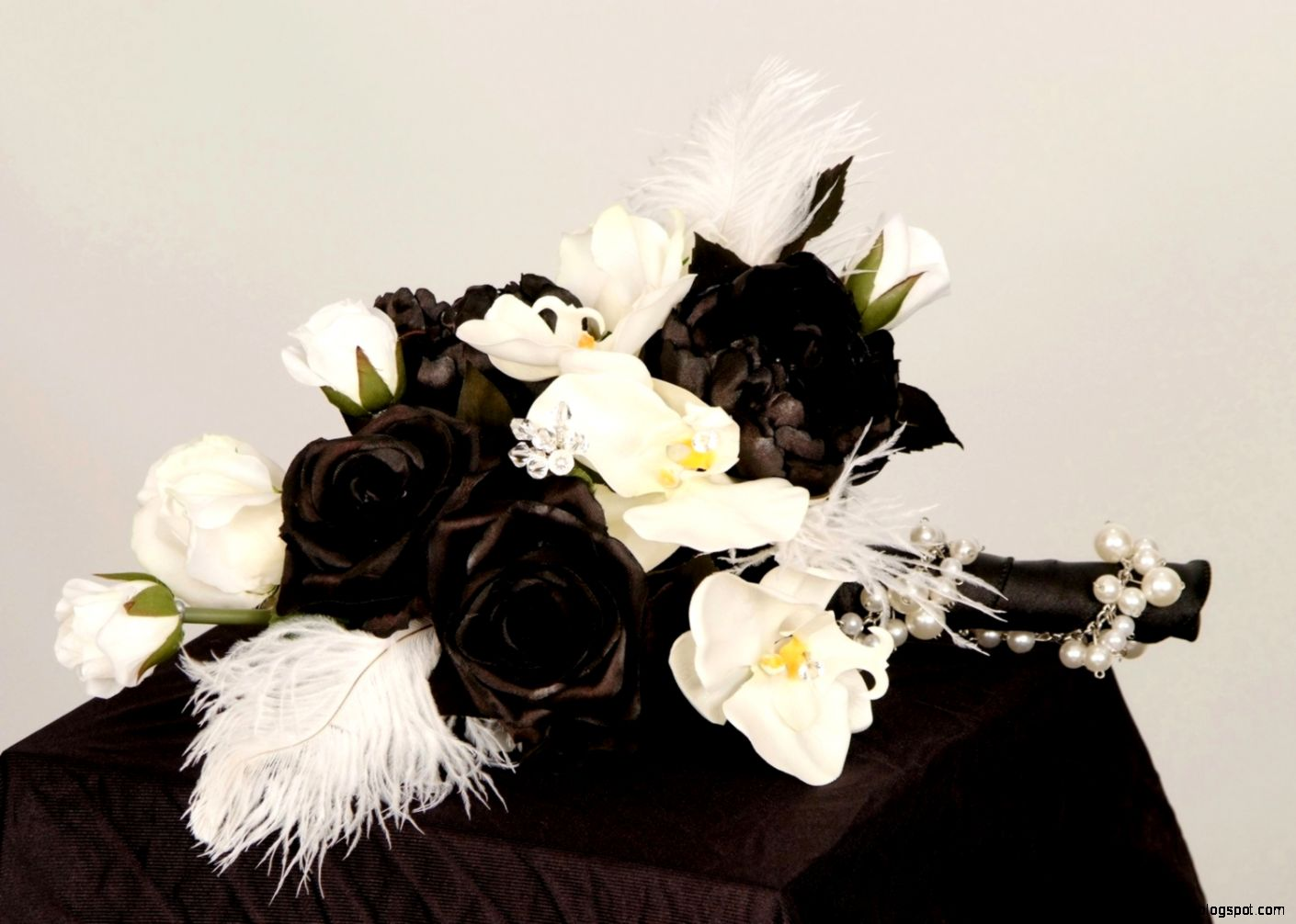 Wedding Flowers Bridal Bouquet Black boutonniere set by AmoreBride