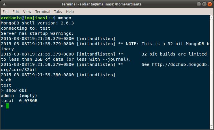 uji coba mongodb di ubuntu