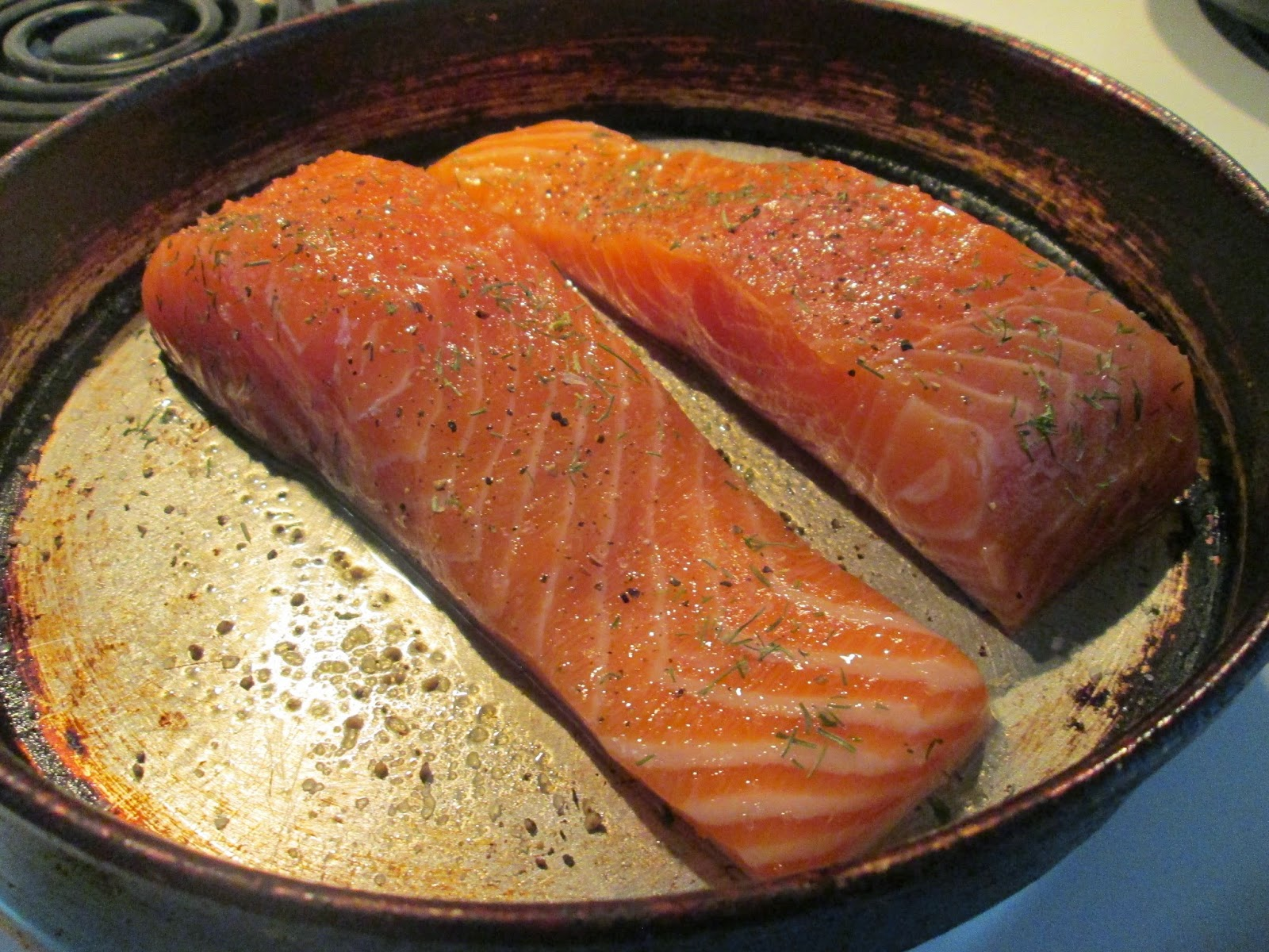 I Picked The Atlantic Wild Caught Salmon Up At Kroger Yesterday, They Had  Some Beautiful Fillets! To Prepare It I Rubbed It With A Light Coat Of  Extra