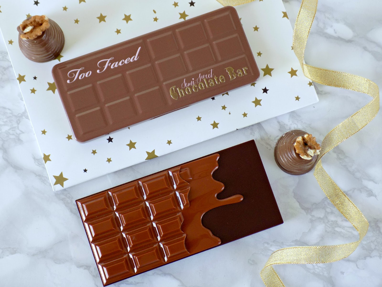 Too Faced Semi Sweet Chocolate Bar vs Makeup Revolution Salted Cramel