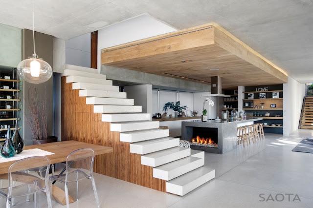 Minimal white marble stairs