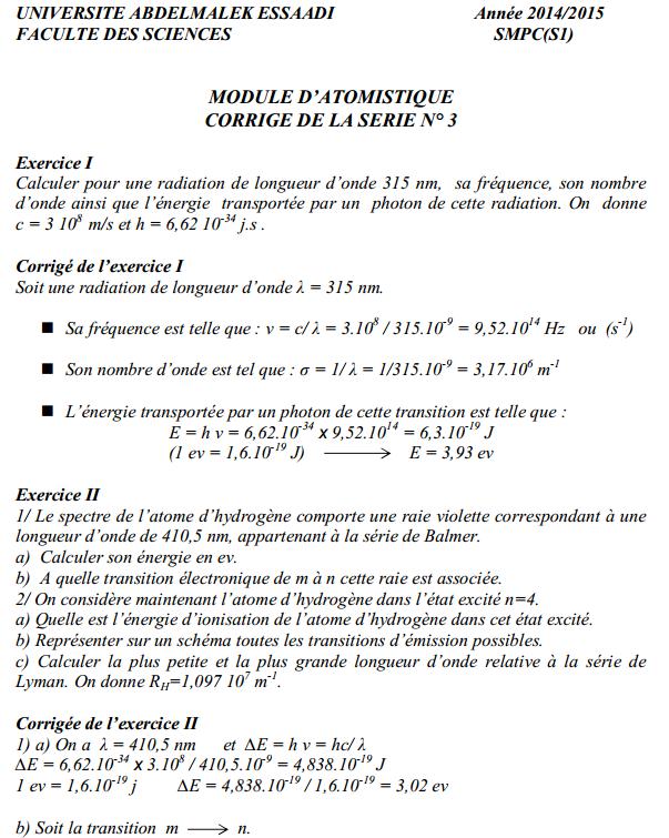 TD Atomistique: Série n° 3 + Corrigé SMPC  FST 14-15