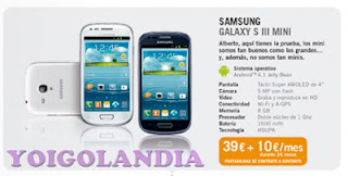 Samsung Galaxy S3 Mini Yoigo por 39 euros más 10 euros durante 24 meses