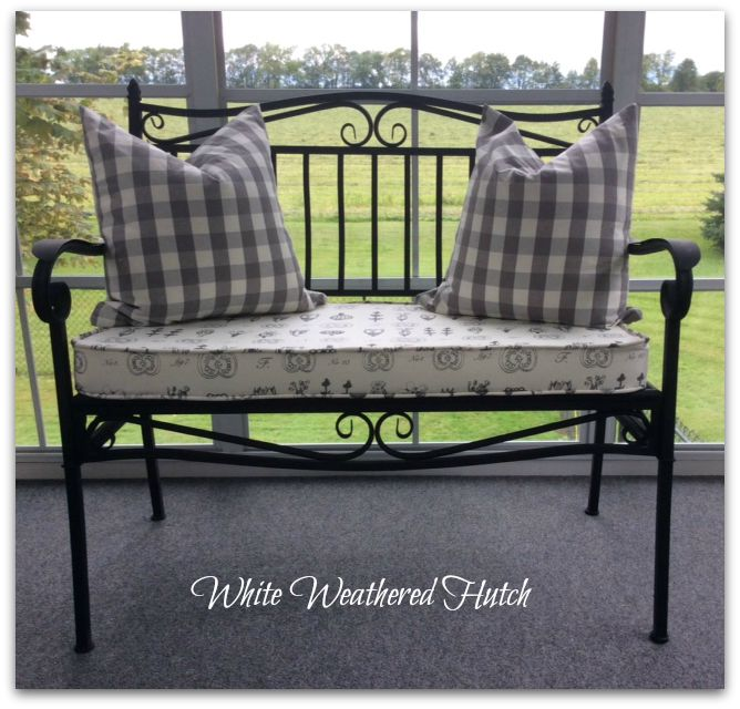 White Weathered Hutch Box Cushion For Wrought Iron Bench