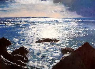 marina al oleo de La Coruña