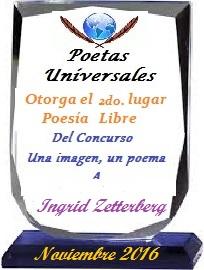 Segundo puesto ganado en Poetas universales en Noviembre 2016