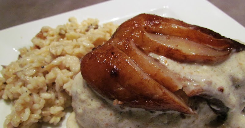 ... Almond-crusted chicken with Balsamic-poached pear and Brie cream sauce