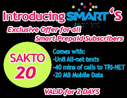 Smart's SAKTO20 offers All Net Unlitxt, 40mins call & 20mb ...