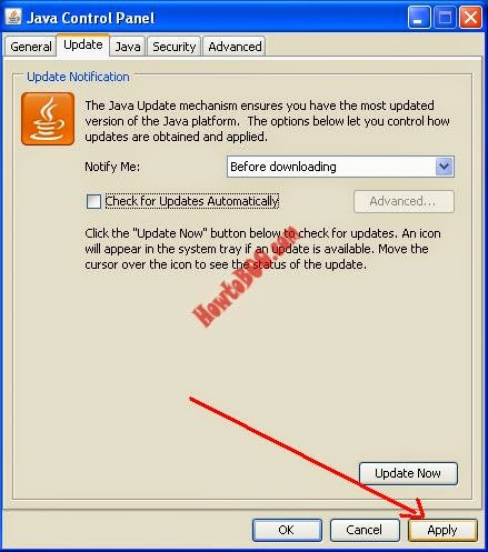 How to disable java updates and java update notification