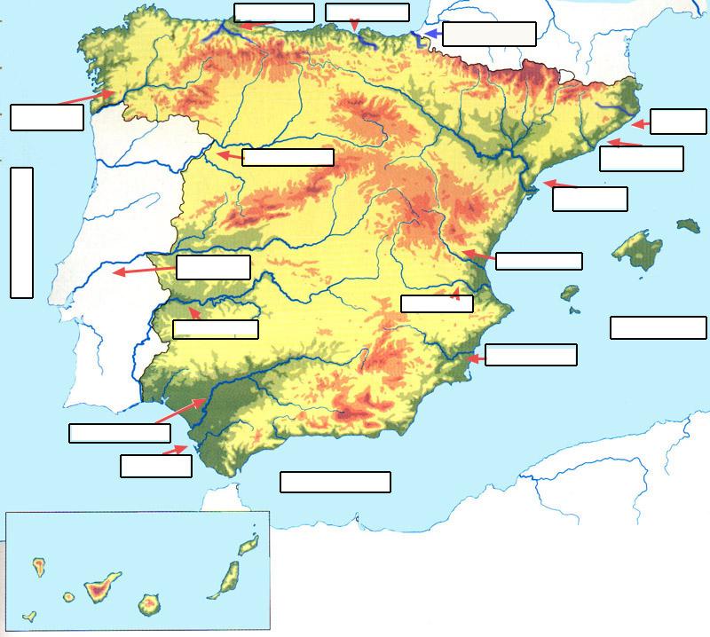 Mapa Mudo Rios Y Afluentes De Espaa Para Imprimir