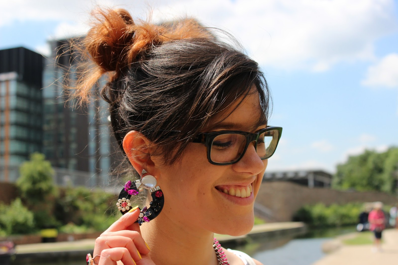 blogger with fab earrings