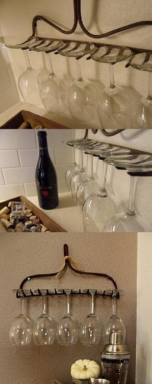 reutilizar un rastrillo para organizar copas