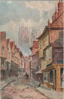 Vintage postcard of Petergate, York, by the artist T.Guy