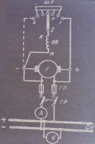 Простая схема электрических соединений генератора параллельного возбуждения