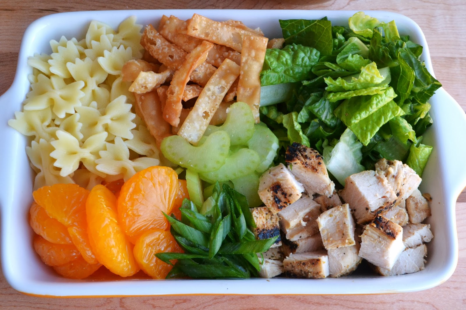 ... Mandarin Orange Chicken Salad with Farfalle and Crispy Wonton Strips