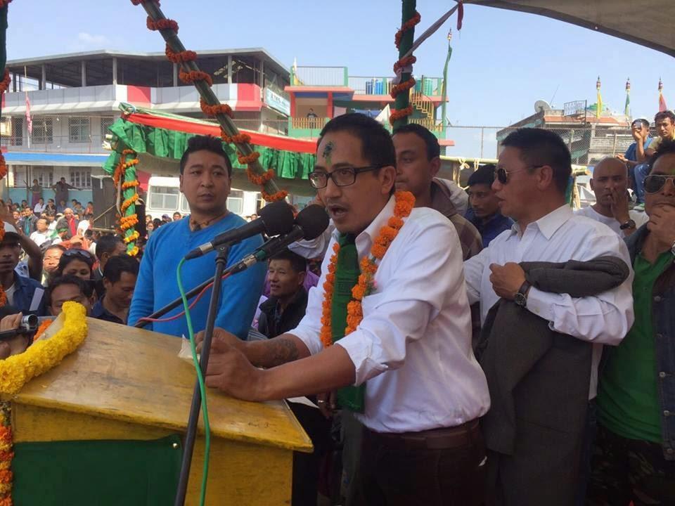 Mann Ghising addressing a GNLF rally