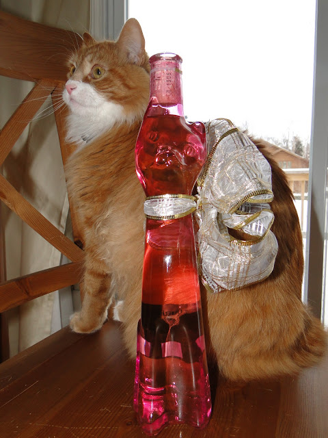 Kitty shaped bottle and a Kitty himself