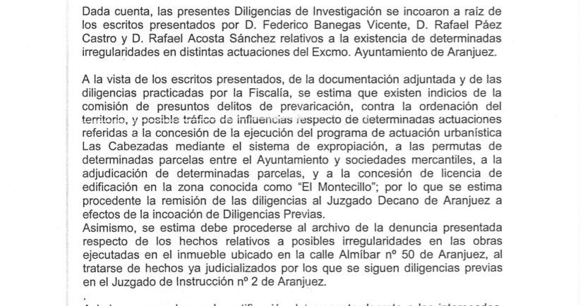Notitia criminis la fiscal a anticorrupci n denuncia al for Juzgados de aranjuez