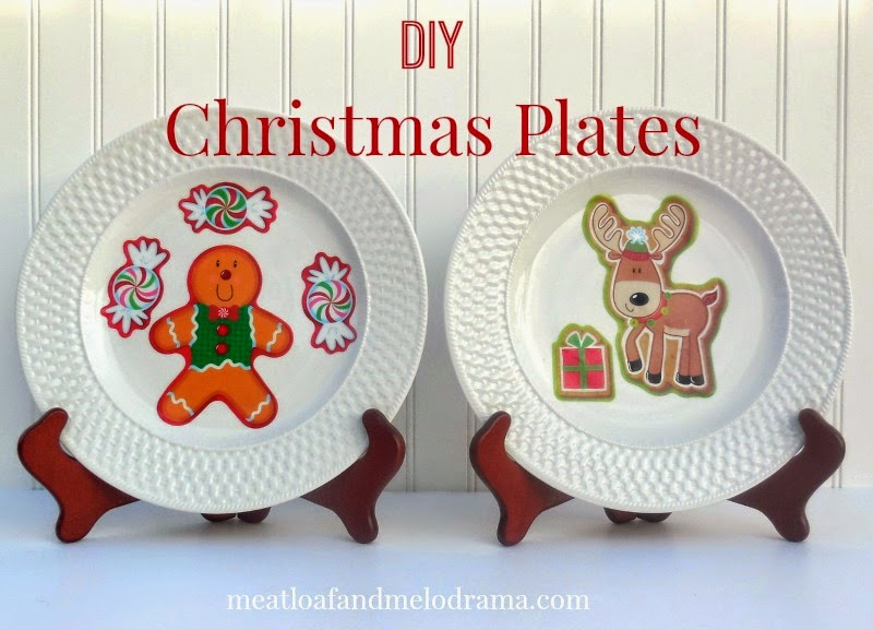 white plates decorated with gingerbread man and reindeer window clings from Dollar Tree