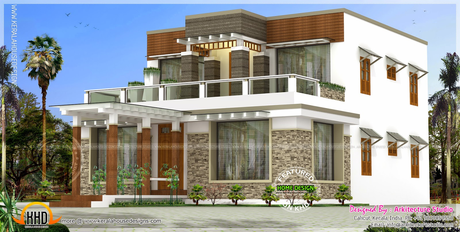 Modern exterior house in 382 square yards kerala home for Kerala house exterior