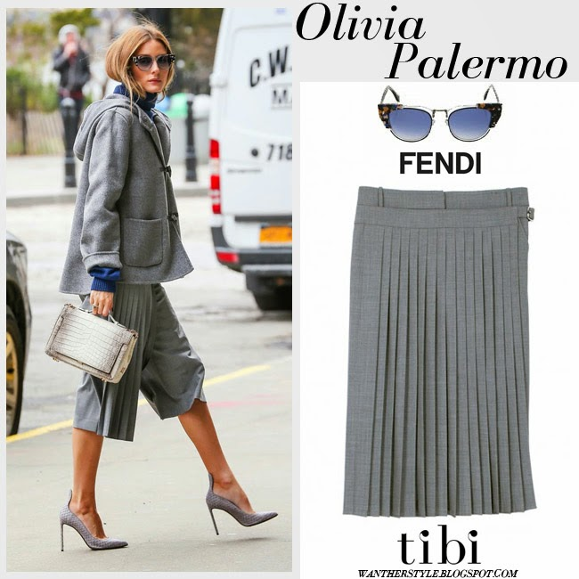 Olivia Palermo in grey pleated crop wrap culottes from Tibi, grey hooded jacket and cat eye Fendi sunglasses what she wore want her style april 2015