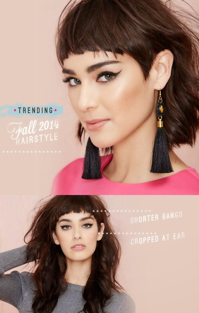 Fall 2014 Top trending hairstyle - short bangs cropped at ear - Nasty Gal