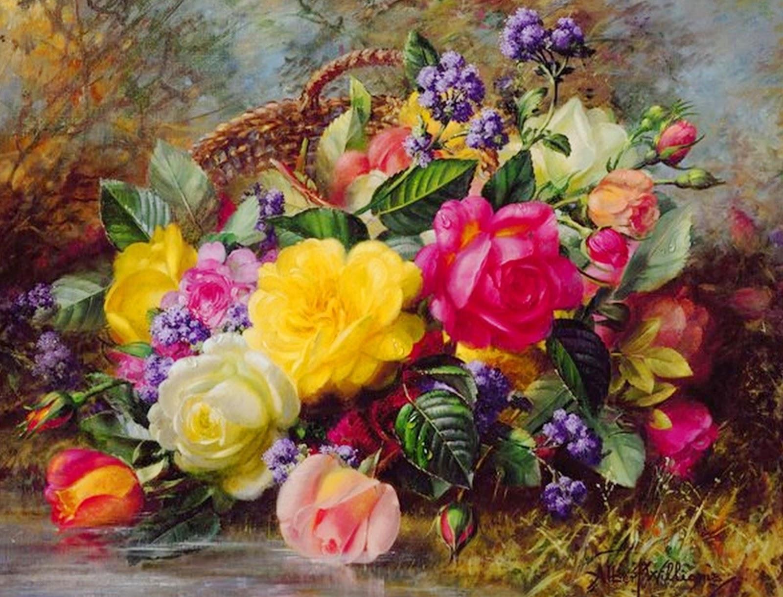 Cuadros modernos pinturas y dibujos bodegones de flores for Cuadros pintados al oleo
