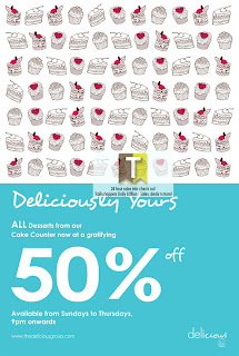 Delicious Cafe 50% OFF Cake Offer 2012
