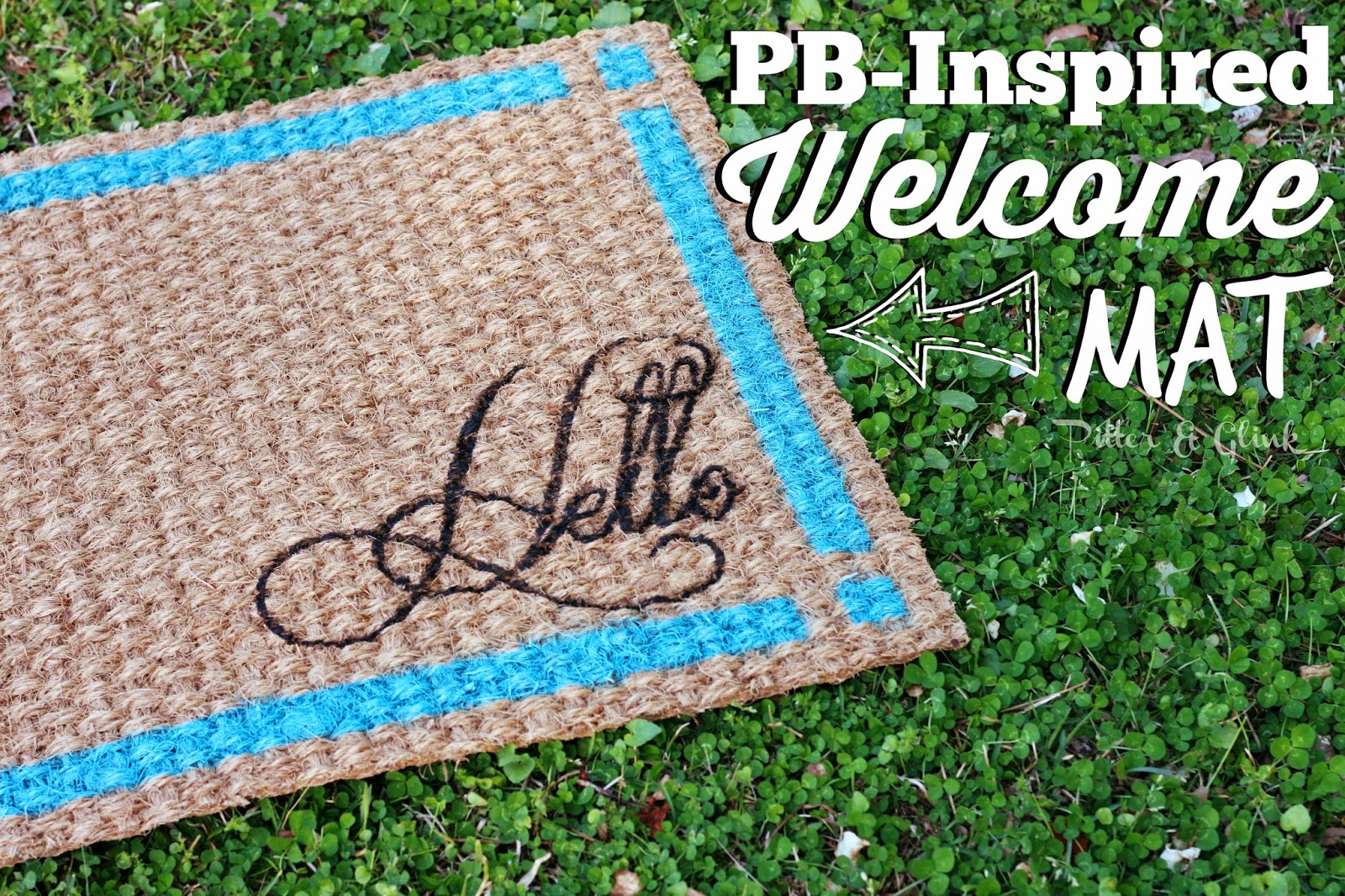 Stencil an IKEA rug to create a PB Inspired Doormat! #ikeahack www.PitterandGlink.com