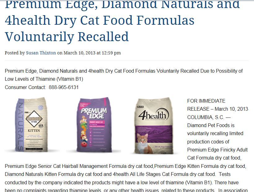 diamond cat food blue buffalo food identified may 7 2012 beginning of