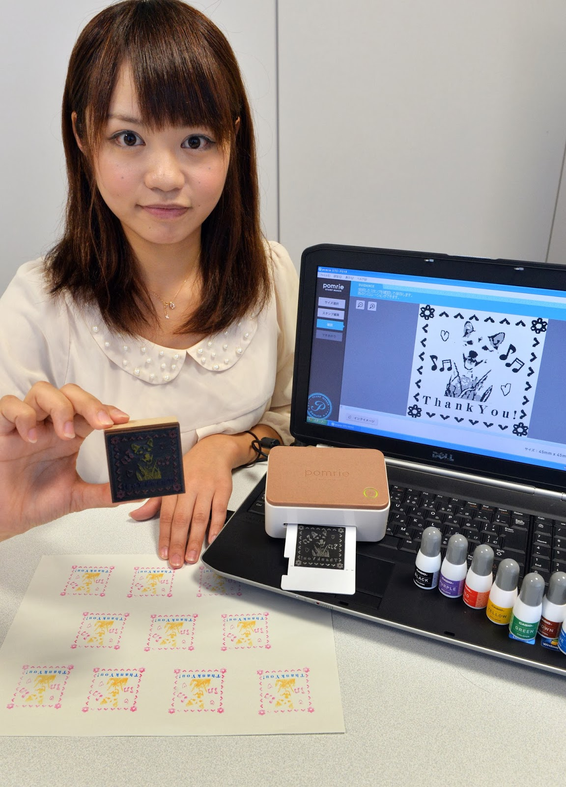 Casio, Color, Company, Computer, Device, Electronic, Employee, Girl, Headquarters, Information Technology, Ink Stamp, IT, Japan, Pomrie, Science, Stamp, Stamp Maker, Technology, Tokyo, Worker,