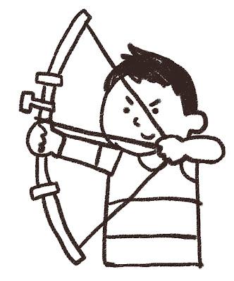 アーチェリーの選手のイラスト(スポーツ) モノクロ線画