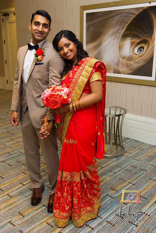 The good looking couple after Shiney changed into her reception lehenga