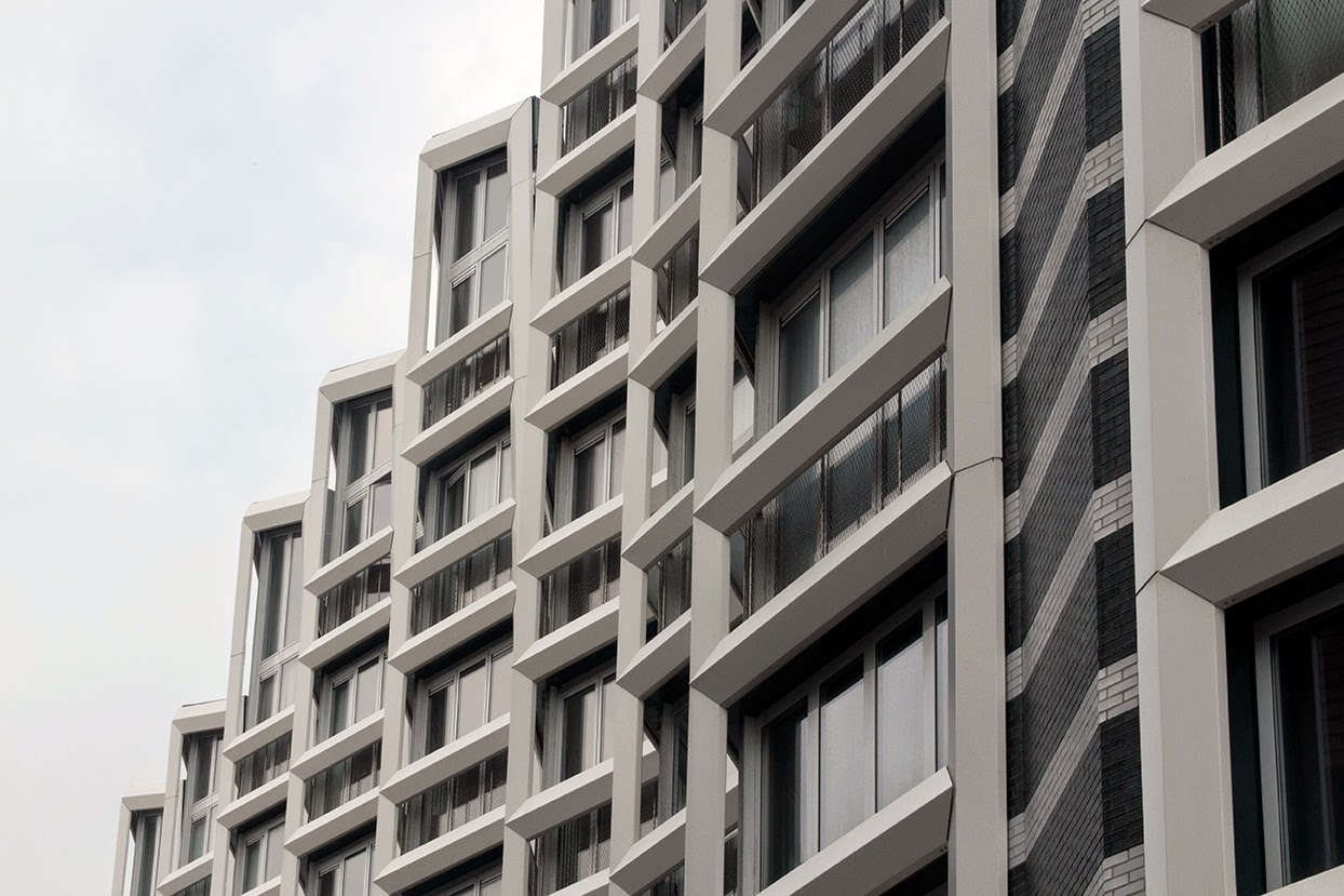 pattern of modern building with grey sky