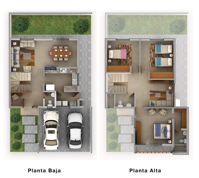Plano de casa de dos plantas con cochera techada