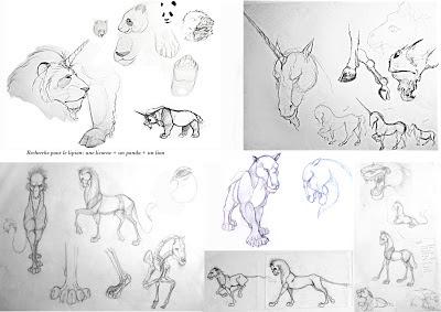 manu lafay recherches personnage lipion lion panda licorne crayon