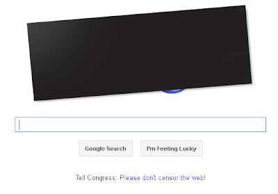 Google censored its logo, an Anti-SOPA Protest