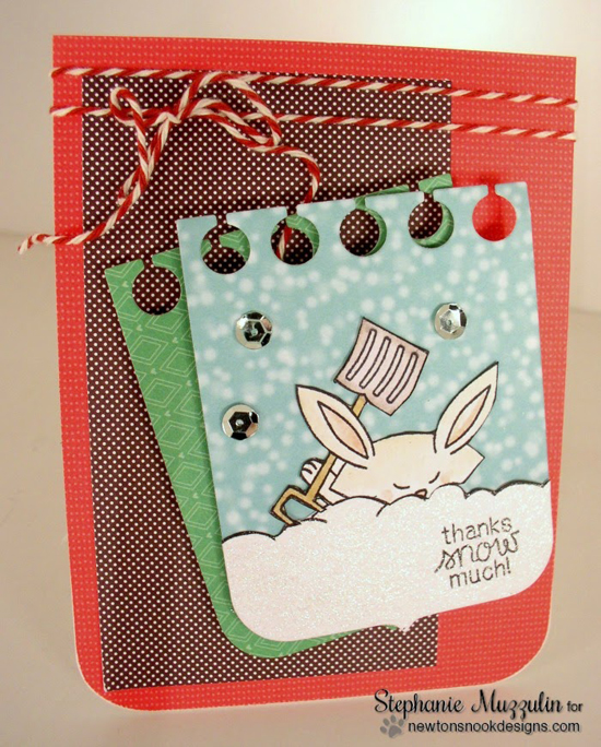 Snow Bunny Thank You Card by Stephanie Muzzulin for Newton's Nook Designs | Winter Tails Stamp Set
