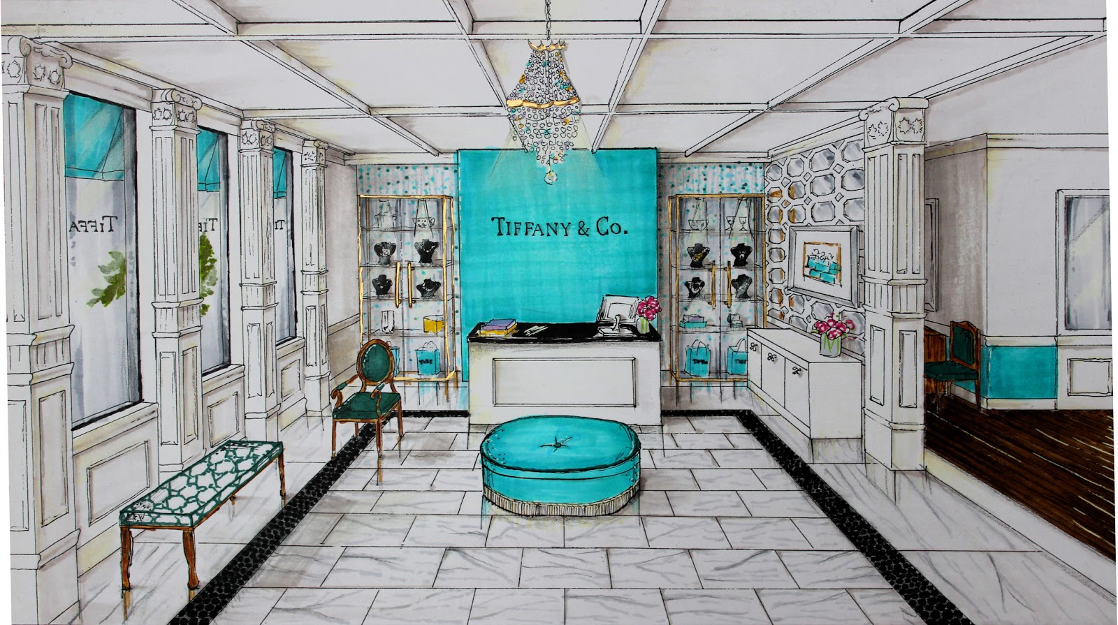 Tiffany co reception completed project home design for Tiffany d living room